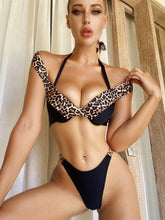 Load image into Gallery viewer, CHEEKY LEOPARD PRINT OFF SHOULDER PUSH UP BIKINI