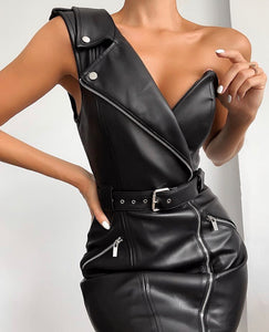 KENNA ONE SHOULDER LEATHERETTE ZIPPIER DRESS