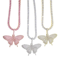 Load image into Gallery viewer, BUTTERFLY PENDANT PREMIUM TENNIS CHAIN