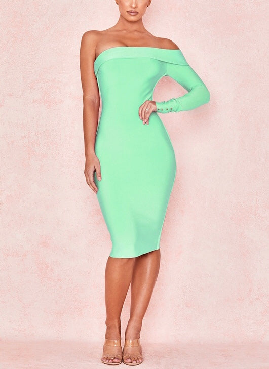 PAIGEY OFF SHOULDER BANDAGE DRESS