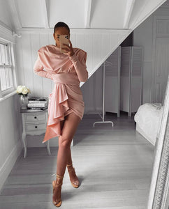 ELMA DRAPED HIGH NECK LONG SLEEVE DRESS