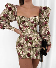 Load image into Gallery viewer, ANNA FLORAL LONG SLEEVE MINI DRESS