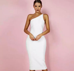 AMIR ONE SHOULDER BACKLESS MIDI BANDAGE DRESS