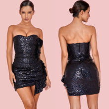 Load image into Gallery viewer, KELLY STRAPLESS SEQUIN RUFFLE DRESS