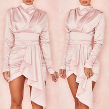 Load image into Gallery viewer, ELMA DRAPED HIGH NECK LONG SLEEVE DRESS