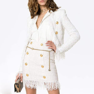 SHIRLEY TWEED TASSEL BUTTON UP SET