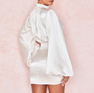 REN X PUFF LONG SLEEVE DRAPED MINI DRESS