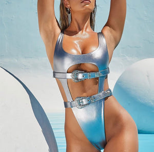 AMBER METALLIC BUCKLE MONOKINI