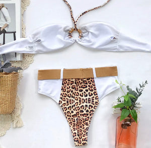 VEE HIGH WAIST LEOPARD PRINT SWIM SET