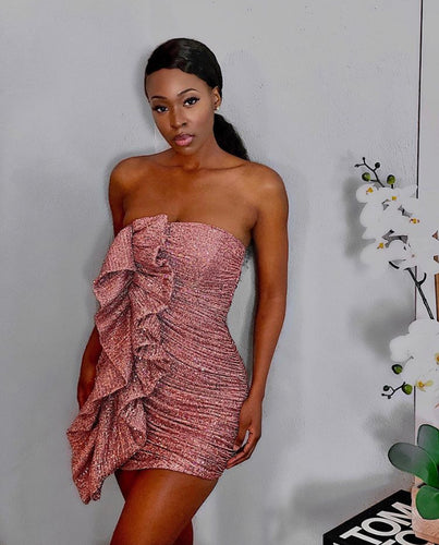 KAYLIN ROSE STRAPLESS RUFFLE SEQUIN DRESS