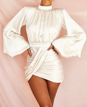 Load image into Gallery viewer, REN X PUFF LONG SLEEVE DRAPED MINI DRESS
