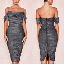 Load image into Gallery viewer, BELLE X OFF SHOULDER DRAPED FITTED DRESS