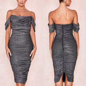 BELLE X OFF SHOULDER DRAPED FITTED DRESS
