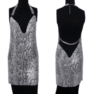 BRETT HALTER BACKLESS SNAKE PRINT DRESS