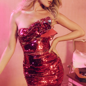 KEEMA STRAPLESS SEQUIN FITTED MINI DRESS