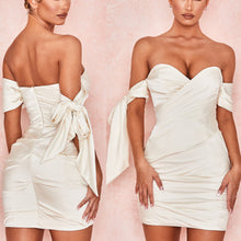 Load image into Gallery viewer, GRANT OFF SHOULDER DRAPED MINI DRESS