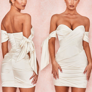GRANT OFF SHOULDER DRAPED MINI DRESS