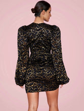 Load image into Gallery viewer, AESHA PLUNGE PUFF SLEEVE MINI DRESS