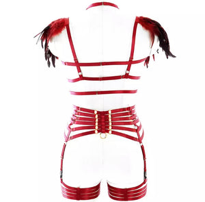 VETT FEATHER HARNESS LINGERIE SET