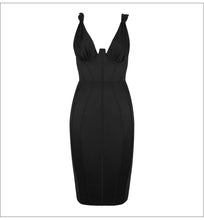 Load image into Gallery viewer, SASSY PLUNGE FITTED MIDI DRESS