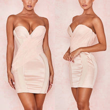 Load image into Gallery viewer, SKYLAR STRAPLESS PLUNGE PUSH UP FITTED MINI DRESS