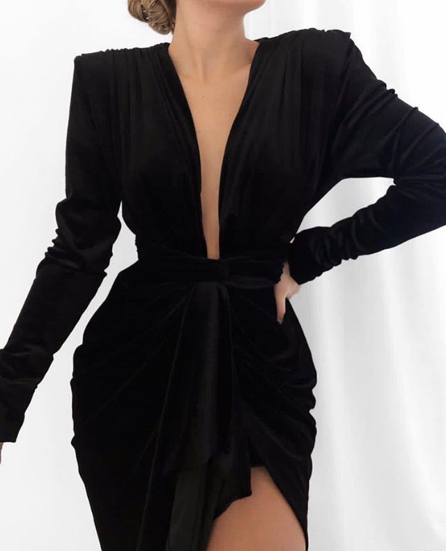 MONT PLUNGE DRAPED VELVET DRESS