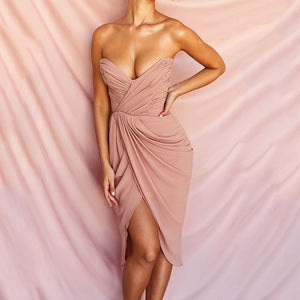 SHEILA STRAPLESS DRAPED DRESS