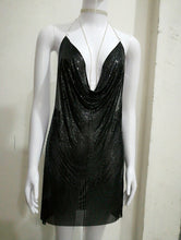 Load image into Gallery viewer, BREYA PLUNGE METALLIC CRYSTAL DRESS
