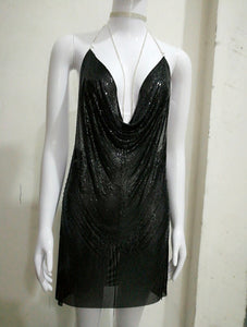 BREYA PLUNGE METALLIC CRYSTAL DRESS