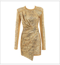Load image into Gallery viewer, MISS GLOW SEQUIN FITTED LONG SLEEVE DRESS