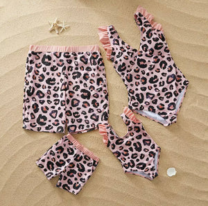 LEOPARD MATCHING FAMILY SWIMSUIT SET