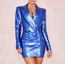 Load image into Gallery viewer, BETH LEATHERETTE PLUNGE MINI DRESS