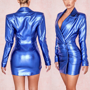 BETH LEATHERETTE PLUNGE MINI DRESS