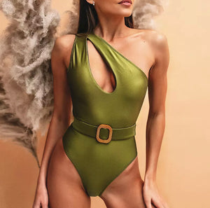 LOGAN ONE SHOULDER HOLLOW BELTED ONE PIECE