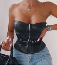 Load image into Gallery viewer, KOKI STRAPLESS ZIPPER LEATHERETTE TOP