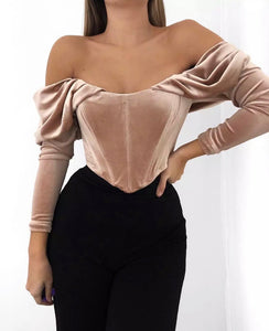 BEBE OFF SHOULDER VELVET CROP TOP