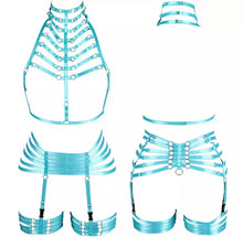Load image into Gallery viewer, KELS CAGED HIGH NECK HARNESS GARTER SET