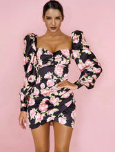 Load image into Gallery viewer, ONLA FLORAL PUFF SLEEVE DRAPED MINI DRESS