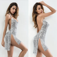 Load image into Gallery viewer, BRETT HALTER BACKLESS SNAKE PRINT DRESS