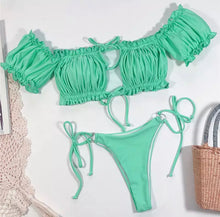 Load image into Gallery viewer, RYLER PLEATED OFF SHOULDER BIKINI SET