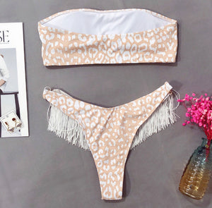 KITTY LEOPARD PRINT TASSEL BIKINI SET