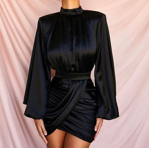 REN PUFF LONG SLEEVE DRAPED MINI DRESS