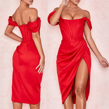 Load image into Gallery viewer, SIANI OFF SHOULDER HIGH SPLIT DRESS