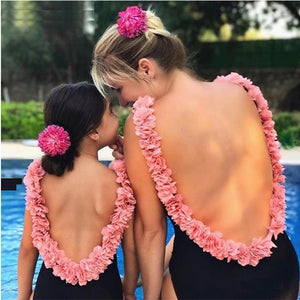 LOVEY FLOWER STRAP BACKLESS MOTHER DAUGHTER SWIMSUIT SET