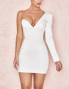 AKIL ONE ARM PLUNGE FITTED DRESS