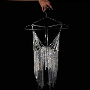 AZUR CRYSTAL METAL TASSEL TOP