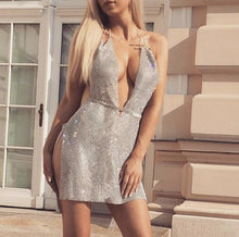Load image into Gallery viewer, BENNY PLUNGE BELTED MINI CRYSTAL DRESS