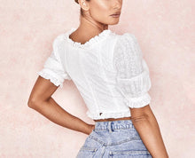 Load image into Gallery viewer, DAISY RUFFLE EMBROIDERED CROP TOP
