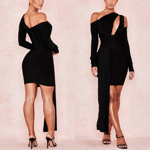 DAZE HOLLOW LONG SLEEVE DRAPED BANDAGE DRESS