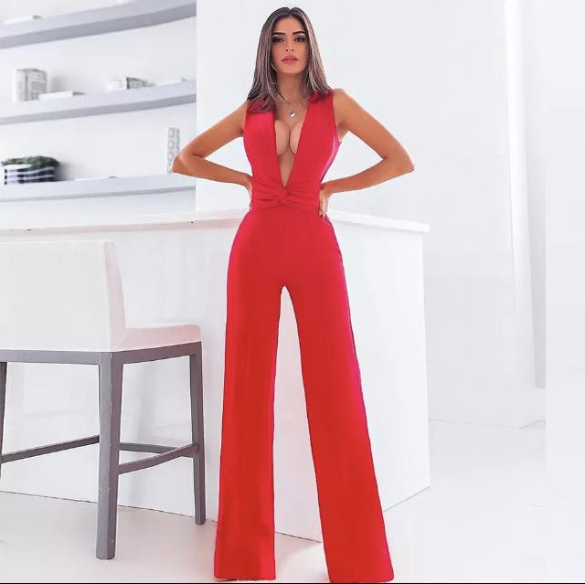 JILLY SLEEVELESS PLUNGE JUMPSUIT